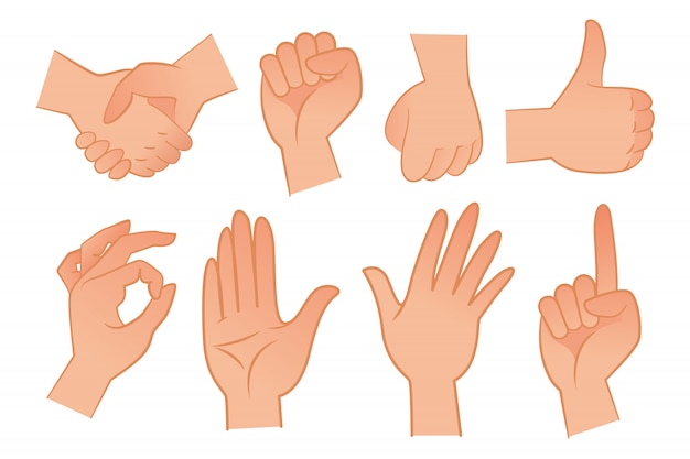 Hand gestures illustration set