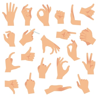 Hand gestures. pointing human finger gesture, open hand signal. arm communication attention signs  collection