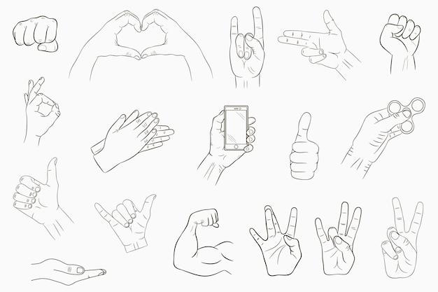 손 제스처를 설정합니다. 손으로 그린 표지판 모음입니다. 벡터 일러스트 레이 션.