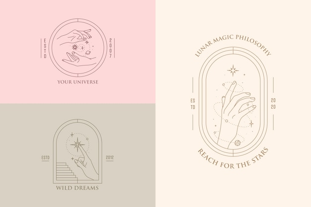 Hand gestures set of logo design templates in minimal linear style