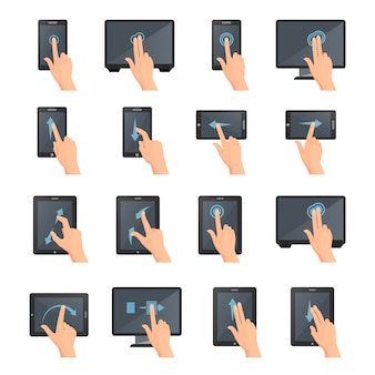Hand gestures on touch digital devices flat colored isolated decorative icons collection
