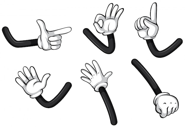 Hand gestures on white background