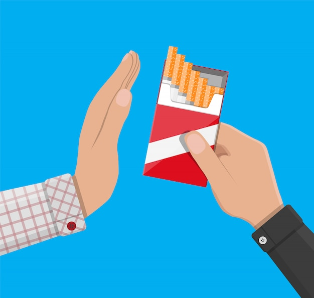 Hand gives cigarette to other hand.