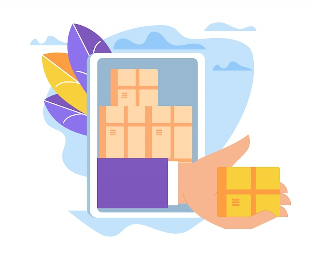 Hand giving box through smartphone screen, sales.