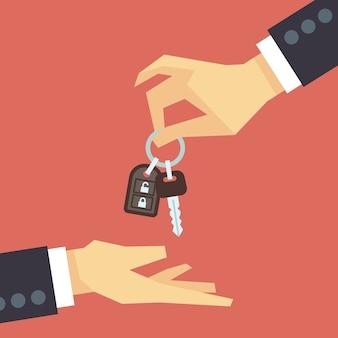 반면에 자동차 키를주는 손. 자동차 임대 및 판매 평면 개념입니다. 고객과의 거래
