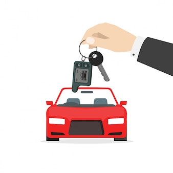 Hand giving car keys as gift near automobile