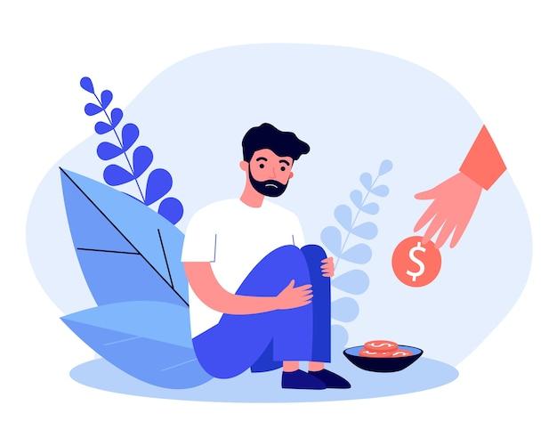 貧しいひげを生やした男にコインを与える手。障害、お金、イラストが必要です。バナー、ウェブサイトまたはランディングウェブページの慈善活動とヘルプのコンセプト