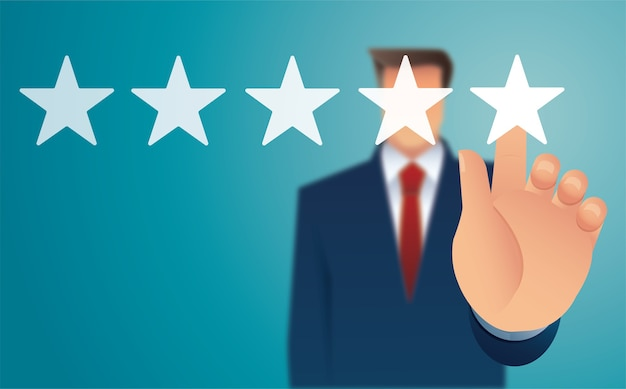 Hand giving five star rating