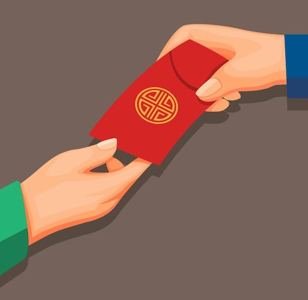 Рука дает деньги в конверте, также известном как концепция ангпао в векторе иллюстрации шаржа