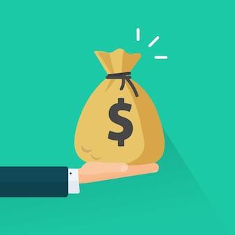 Hand giving money or man arm holding cash bag flat cartoon