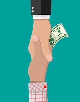 다른 손에 돈을 주는 손. 악수. 은폐된 임금, 급여 흑자, 탈세, 뇌물. 부패 방지 개념입니다. 평면 스타일의 벡터 일러스트 레이 션