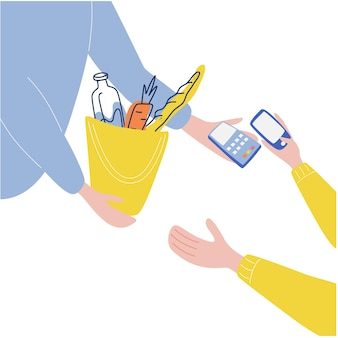 Рука, отдающая заказ клиенту рука, держащая дебетовую или кредитную карту система бесконтактных платежей