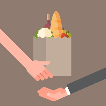 Hand giving paper bag full of products, grocery delivery service concept