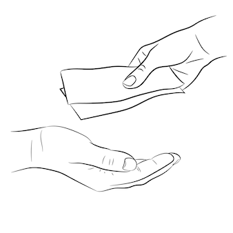 Hand, giving and taking money bills of monochrome