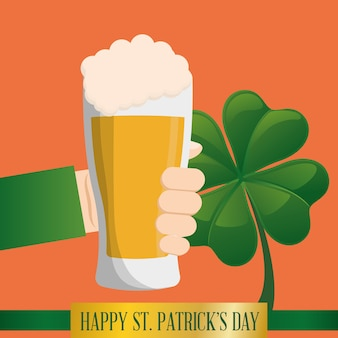 Hand glass beer clover happy st patricks day