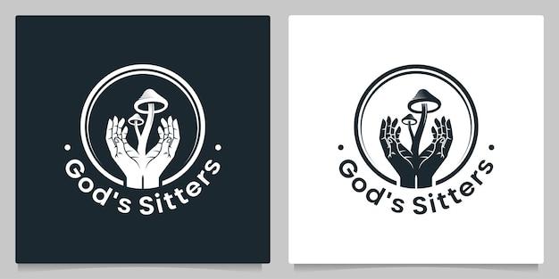 Рука бога и грибы magic loo дизайн винтажная иллюстрация