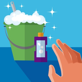 Hand grabbing cleaning products concept cartoons