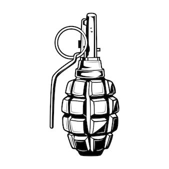 수류탄 벡터 일러스트 레이 션. 빈티지 흑백 탄약 요소. 레이블 또는 엠블럼 템플릿에 대한 군대 또는 군대 개념