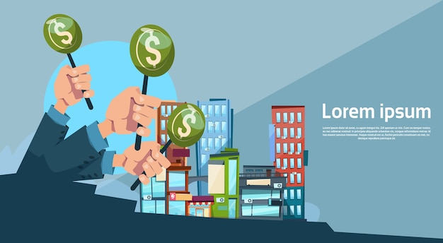 Hand group hold green money business funding modern city