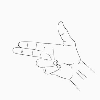 Ручной пистолет или жест пистолета. линия рисованной эскиз. векторная иллюстрация.