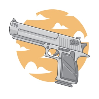 Hand gun with clouds and sky background