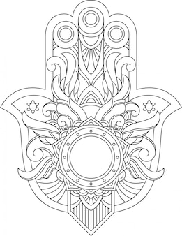 Hand of hamsa islamic adult coloring pages book in drawing and t-shirt  style