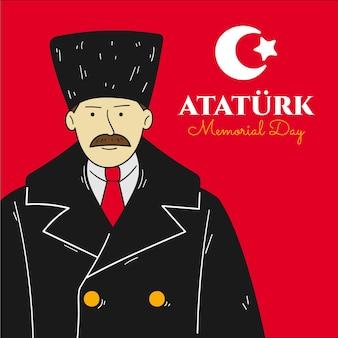 Hand hand drawn ataturk memorial day illustration