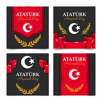Collezione di post di instagram per il giorno della memoria di ataturk disegnata a mano
