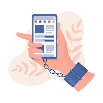 Hand in handcuffs holding smartphone illustration Premium Vector
