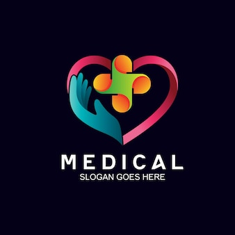 Hand and heart in medical logo design