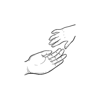 Hand of help hand drawn outline doodle icon