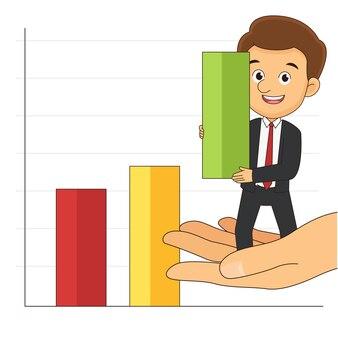 Рука помогает бизнесмену поднять диаграммы или данные рынка