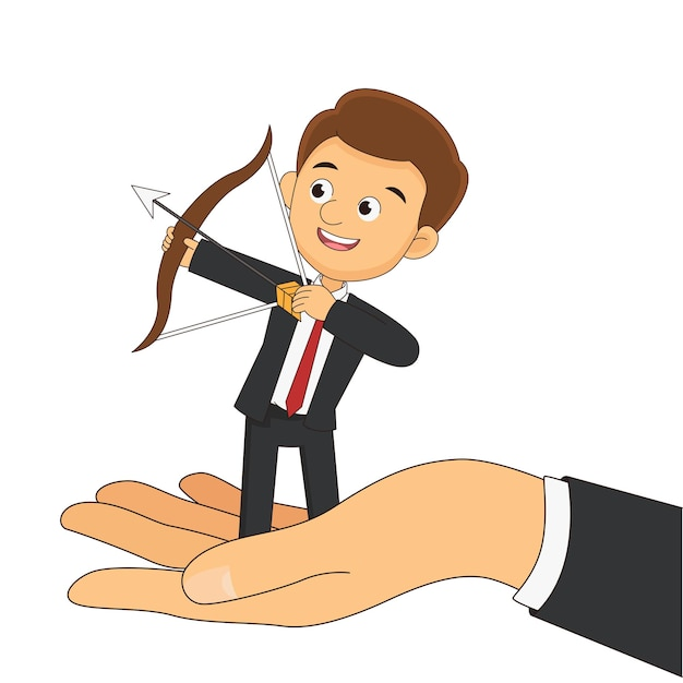 Рука помогает бизнесмену достичь цели