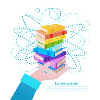 Hand hold books stack school education concept