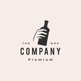 Hand hold bottle hipster vintage logo