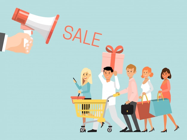 Hand hold bullhorn sale offer advertisement, group people character shopping concept clearance sale isolated on blue,   illustration.