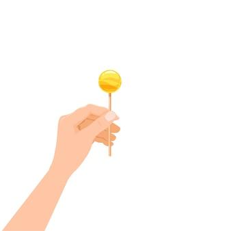Hand hold candy lollipop dessert sweetness.