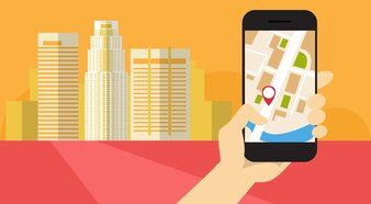 Hand Hold Cell Smart Phone Application Online Gps Navigation Banner Flat Vector Illustration