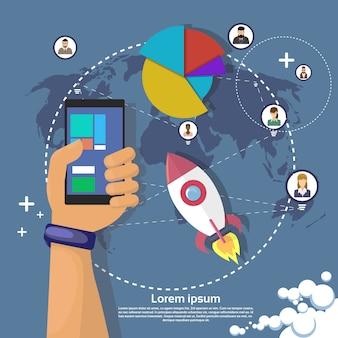 Hand hold cell smart phone modern gadget