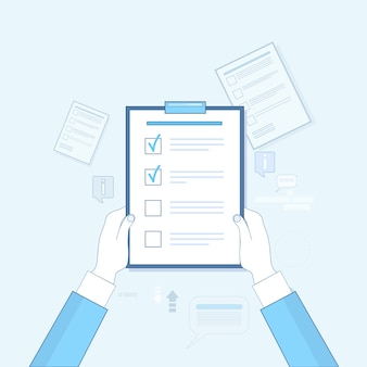Hand hold check list paper document vector illustration