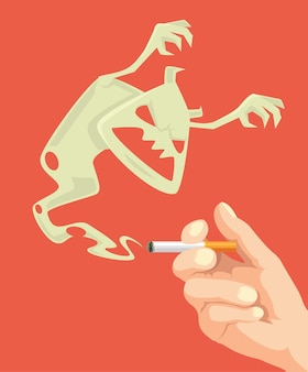 Сигарета удержания руки. атаки сигаретного монстра.