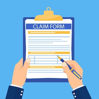 Hand hold clipboard with claim form on it