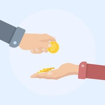 손을 잡고 달러 동전. 현금, 통화를주는 남자. 현금, 기부, 투자, 자선으로 지불