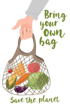 Hand hold eco bag people bring own bag for grocery zero waste products for shopping vector concept eco bag shopper organic green ecological illustration vector illustration