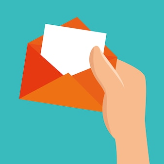 Hand hold envelope message