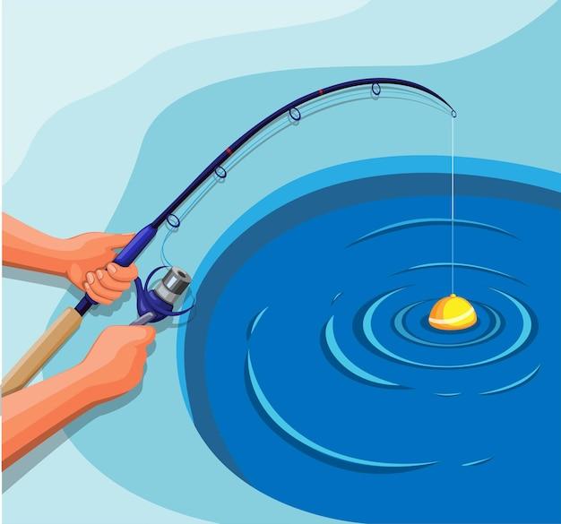 Hand hold fishing rod. fishing on ice hole in winter season concept in cartoon illustration