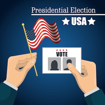 Hand hold flag ballot voting usa election