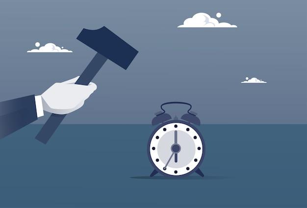 Hand hold hammer broking alarm clock time management