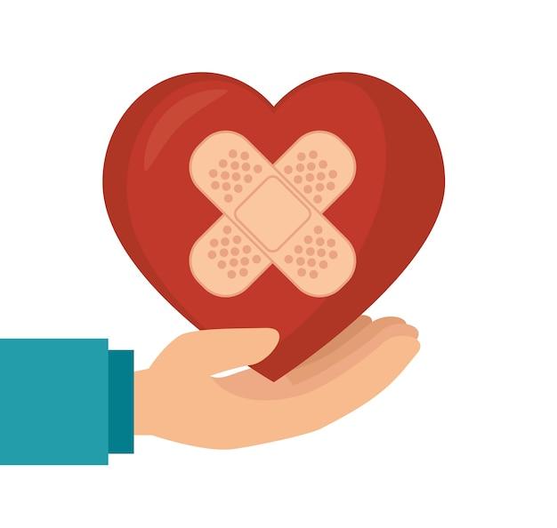 Держите сердце с гипсом