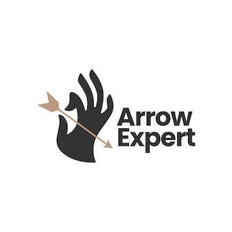 Hand hold holding arrow bow logo template